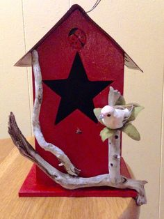 Rustic Birdhouse License Plate Birdhouse, Driftwood Birdhouse, Primitive Birdhouse, Rustic Red Birdhouse, Housewarming Gift by BelleMistique on Etsy https://www.etsy.com/listing/231379299/rustic-birdhouse-license-plate-birdhouse