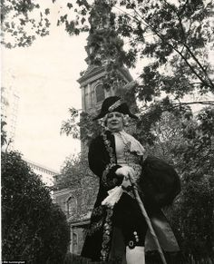 Odd man out: For a photo shoot at St. Paul's Chapel and Churchyard, the oldest surviving church in Manhattan, Cunningham dressed his compani...