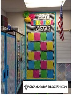 Bright Chevron and Polkadots classroom theme! Student classwork board