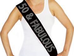 Rhinestone 50 & Fabulous Black Sash  Birthday Sash by ABridalShop