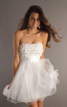 Ball Gown Short Strapless White Dress