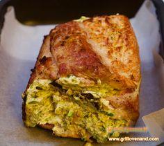 Свиная  корейка фаршированная творожным сыром и шпинатом. Время приготовления -1,5 часа. spinach and cream cheese stuffed pork loin