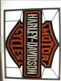 Harley davidson motorcycles tiffany style stained glass lamp shade stained glass harley davidson signs numbers names logos mozeypictures Image collections
