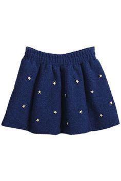 ROMWE | Studed Five-star Embellished Blue Skirt, The Latest Street Fashion