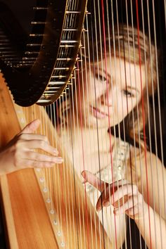 Harpist through the strings Sound Of Music, Music Love, Wedding Music, Wedding Bands, Wings Albums, Art Of Noise, Senior Year Of High School, Minimal Photography, Music Humor