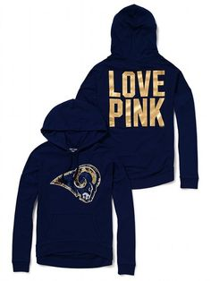 Victoria's Secret PINK Slouchy Bling Hoodie-PINK loves nfl