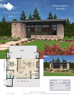 Plan 85133MS  Exclusive Tiny Modern House Plan with Outdoor Spaces     MMA 640 NEPTUNE PDF FULL COLOR Page 1  Contemporary House PlansModern