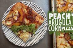 Peach Arugula Corn Pizza - shutterbean