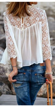 Lace Chiffon Patchwork Long Sleeves Loose Transparent Blouse