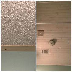 I have popcorn ceiling throughout my home. I have been wanting to update and decided to try wood planks. I wanted to try out in small space to perfect my skill, so I chose a small bathroom. Be careful to really check the boards when purchasing. You want the ones with the best look and grip. Mark studs Since I planned on nailing directly over ceiling, I marked the location of studs in ceiling. I trimmed the first board so that it would be a full board and then planned on staggering b… Covering Popcorn Ceiling, Removing Popcorn Ceiling, Diy Surprise Box, Diy Vanity Lights, Outdoor Candle Holders, Glazing Furniture, Paint Stir Sticks, Installing Laminate Flooring, Beaded Mirror