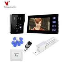 Waterproof Rain Cover Free Shipping New 7 Door Monitor Video Intercom Home Door Phone Recorder System Em Door Lock Elegant In Smell 8g Sd