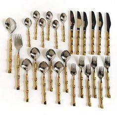 Elevate your #tiki themed dinner party with this fabulous #midcentury stainless steel and #handforgedbrass #bamboohandle flatware set.🎍 Excellent, unused condition. Service for six, 26 piece set. Available in Etsy shop!🍴 1960s Kitchen, Dinner Themes, Stainless Steel Flatware, Brass Handles, Flatware Set, Mid Century Style, Etsy Shipping, Etsy Shop, Party