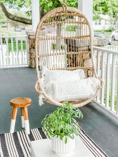Everyone's favorite seat in the house! The hanging chair from Serena & Lily Outdoor Pergola, Outdoor Rooms, Outdoor Gardens, Outdoor Chairs, Outdoor Living, Patio Decks, Outdoor Kitchens, Fire Pit Swings, Fire Pits