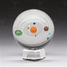 Handmade Glass Sphere Solar System with Base.