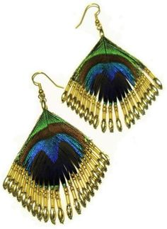 Peacock Feather French Hook Earrings with Gold Beads Chandelier Drop Style NEW!