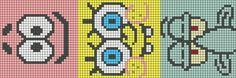 Alpha friendship bracelet pattern added by spongebob patrick squid cute animated nickoledion. Diy Bracelets Patterns, Bead Loom Patterns, Beading Patterns, Cross Stitching, Cross Stitch Embroidery, Cross Stitch Designs, Cross Stitch Patterns, Diy Friendship Bracelets Patterns, Pixel Pattern