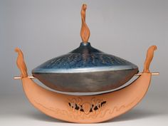 'Carrier Boat: Going The Distance' ~ Raku by Diane Smeraldo 2of3