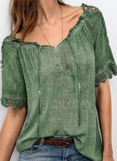 516a33e8a87b8 Blouses -  19.99 - Solid Off the Shoulder Half Sleeve Blouses (01645305953)  Half Sleeves