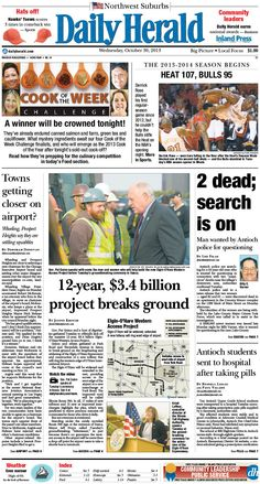 Daily Herald front page, Oct. 30, 2013; http://eedition.dailyherald.com/;