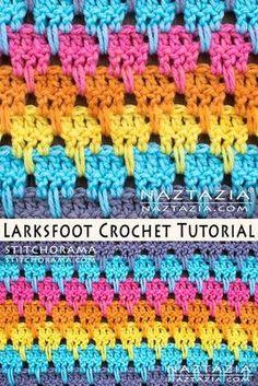 Crochet Larksfoot Stitch Free Pattern and DIY Tuto… Crochet Afghans, Tunisian Crochet Stitches, Crochet Stitches Patterns, Baby Blanket Crochet, Crochet Motif, Diy Crochet, Crochet Crafts, Crochet Baby, Knitting Patterns