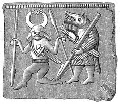 Beserkers - Vendel era bronze plate found on Öland, Sweden.