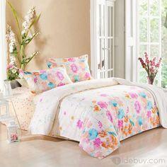 甘いシンプルなデザイン花柄綿100%スキンケア4ピース寝具セット