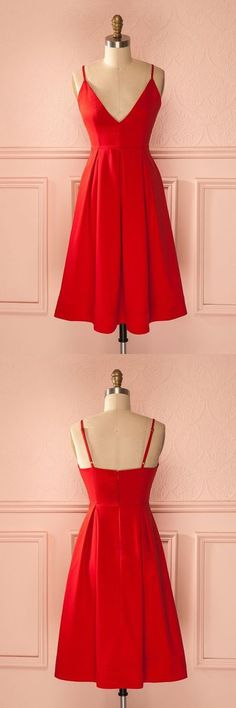 Red Homecoming Dresses,Spaghetti straps Prom Dresses,Sexy Cocktail Dress,Simple Party Dress,Summer Dresses