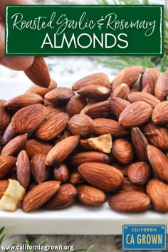 This easy recipe uses simple real food ingredients and yields maximum flavor! Roasted Garlic and Rosemary Almonds are a welcome addition to your appetizer spread and a perfect Paleo or gluten free snack! Healthy Snacks For Kids, Healthy Treats, Healthy Cooking, Real Food Recipes, Healthy Recipes, Primal Recipes, Healthy Tips, Belly Fat Burner Foods