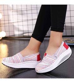 8fa7beca562f4 Red color stripe slip on rocker bottom shoe sneaker