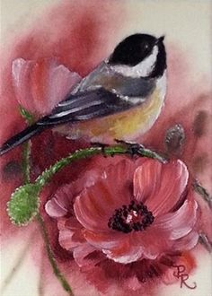 "Daily Paintworks - ""Poppy Pals"" - Original Fine Art for Sale - © Paulie Rollins Bird Drawings, China Painting, Arte Floral, Watercolor Bird, Little Birds, Bird Prints, Bird Art, Animal Paintings, Bird Feathers"
