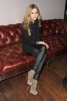 Olivia Palermo wearing Members Only Liquid Leggings in Black and Christian Louboutin Alti Booty Ankle Boots in Sand.