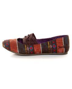 Blowfish Sadiki Brown Multi Suranam Woven Fabric Flats  43.00