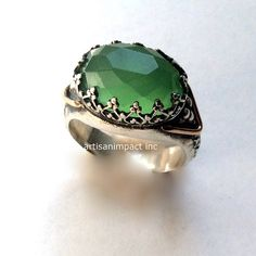 Gypsy ring, boho ring, silver ring, silver gold ring, princess crown ring, green stone ring, antique style ring - Little things R2052G-1