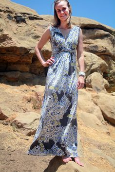 Twisted maxi dress made from Mood's silk jersey.  #moodfabrics