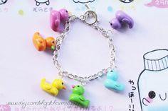 Fimo Kawaii Multicolour Rubber Duck Polymer Clay Charm Bracelet