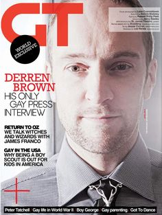 Gay Times Magazine features Derren Brown wearing a Lee Renée Jewellery Deer Necklace on the cover