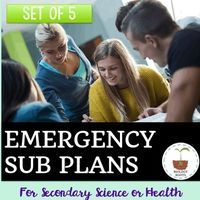 Science Sub Plans for Secondary Science- set of 5 engaging science sub plans. Don't stress about sick days- Biology Roots has you covered!