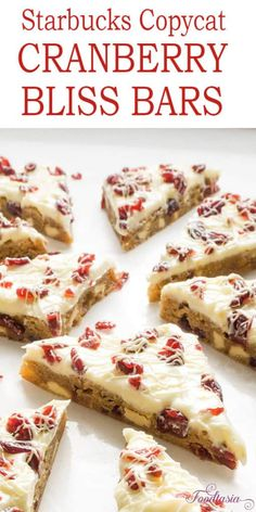 Starbucks' Cranberry Bliss Bars, packed with cranberries, white chocolate, and cream cheese. Quick and easy to make at home!