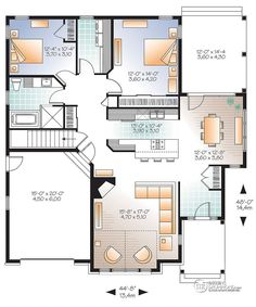 24 x 36 floor plans nominal size 24 x 52 actual size for Plan maison 6 chambres