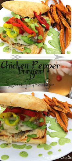 pepper chicken burger with sweet potato fries from Life Sew Savory