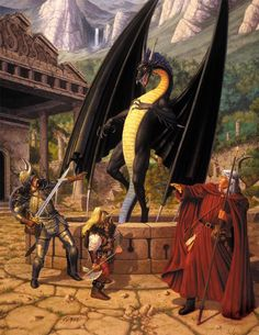 In the history of Fantasy Art, Larry Elmore is a giant. His work has been seminal to what Dungeons & Dragons and American Fantasy would. High Fantasy, Fantasy Rpg, Medieval Fantasy, Fantasy World, Fantasy Warrior, Fantasy Paintings, Fantasy Artwork, Fantasy Creatures, Mythical Creatures