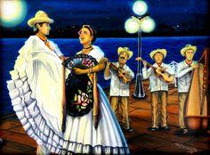 $5500 PESOS MEXICANOS MAS GASTOS DE ENVIO, NOCHE JAROCHA, TRADICION, fandango, tlacotalpan, Veracruz, jarochos, arte mexico, oil paint by Jorge D. Espinosa