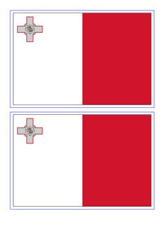 Malta Flag - Download this free printable Malta template A4 flag, A5 flag, 8 and 21 flags on one A4page. Easy to use in your own designs to make them country specific.
