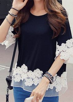 Sweet Style Round Collar Lace Splicing Waisted Corset Long Sleeve Women's T-Shirt - Kleidung Sweet Style, My Style, Diy Fashion, Ideias Fashion, Womens Fashion, Fashion Black, Fashion Top, Diy Kleidung, Mode Top