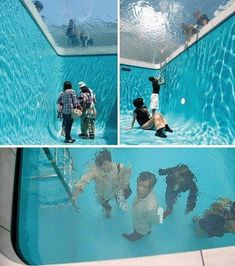 Swimming pool by Leandro Erlich. Walk and breath underneath. A large piece of acrylic spans the pool and suspends water above it, creating the illusion of a standard swimming pool. Picture Blog, Nice Picture, Foto Art, Cool Inventions, Oeuvre D'art, Laugh Out Loud, I Laughed, Haha, Funny Pictures