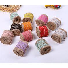 Lace Ribbon Natural Jute Burlap Hessian Roll Trims Tape Rustic Wedding Craft ST #UnbrandedGeneric