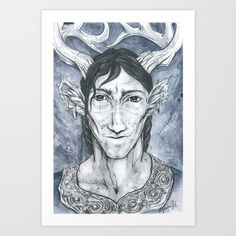 Antlered Prince Art Print by KrasneTigritsa | Society6