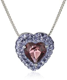 Sterling Silver Purple Heart with Swarovski Elements Pendant Necklace 18 >>> To view further for this item, visit the image link.