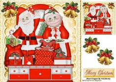 Mr and Mrs Claus sorting out the presents 8x8 on Craftsuprint - Add To Basket!