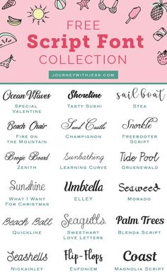 Free Font Collection: Script Fonts This is my second post in my font collection serie…July 14 July 14 is the day of the year in leap years) in the Gregorian calendar. 170 days remain until the end of the year. Free Font Design, Web Design, Font Free, Free Cursive Fonts, Free Fonts Download, Free Fonts For Cricut, Vector Design, Free Font Websites, Free Dingbat Fonts